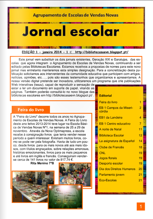 Jornal Escolar do Agrupamento de Escolas de Vendas Novas